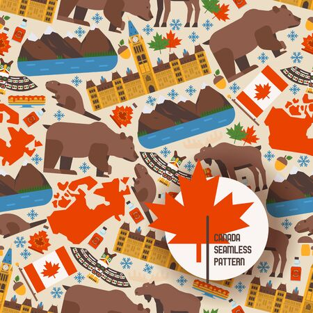 Canadian symbols and main landmarks, vector illustration. Seamless pattern with flat style icons of Canada. Natural, architectural and cultural attractions of Canada Иллюстрация