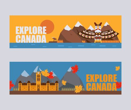 Canadian symbols and landmarks, vector illustration. Flat style banners, headers for Canada travel agency website. Natural, architectural and cultural attractions of Canada