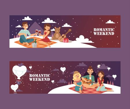 Romantic weekend picnic, vector illustration. Young couple on a romantic date under the stars, with wine and presents. Best friends on a picnic outdoors in the mountains Ilustração