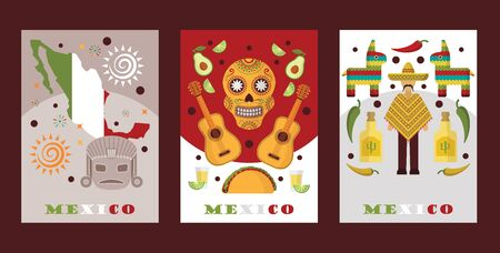 Mexican symbols for souvenir cards, vector illustration. Banners with touristic icons of Mexico, local cuisine and music, traditional clothes poncho and sombrero. Mexican style party invitation.