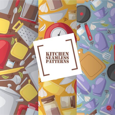 Kitchen utensils in seamless pattern, vector illustration. Cooking accessories, household items and kitchenware icons in flat style. Cutting board, frying pan, kitchen scale and potholder glove Ilustração