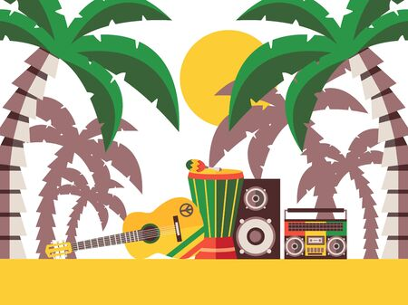 Reggae music beach party, vector illustration. Musical instruments on the sand under palm trees. Guitar and percussion for Jamaican reggae music festival Illustration