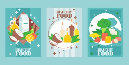 Healthy food banners, vector illustration. Flat style design for food packaging cover, grocery store posters, website banners. Natural organic vegetarian products