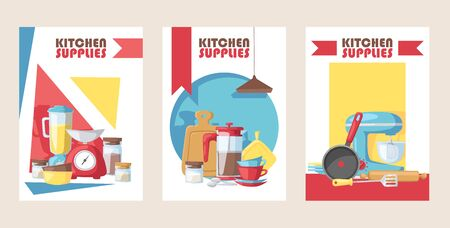 Kitchen supply store banner, vector illustration. Cooking utensils, kitchenware appliance shop advertisement card. Flat style household items, supplies for home cooking baking. Kitchen accessories Illustration