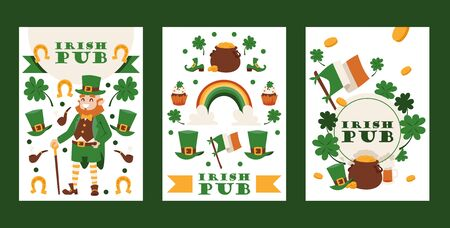 Irish pub banners, vector illustration. St Patricks day festival, traditional holiday in Ireland. Smiling leprechaun and symbols of luck and fortune