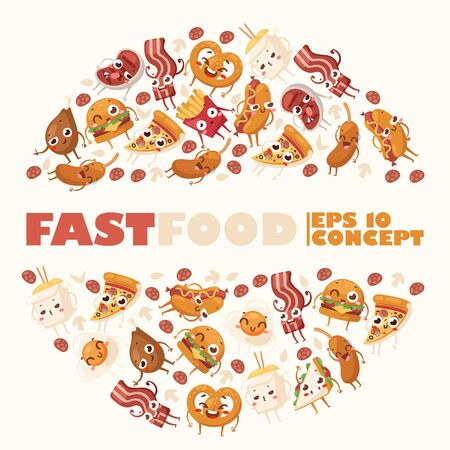 Fast food funny cartoon characters, vector illustration. Round frame composition with isolated junk food icons. Unhealthy snacks, take away street food. French fries, pizza and noodles