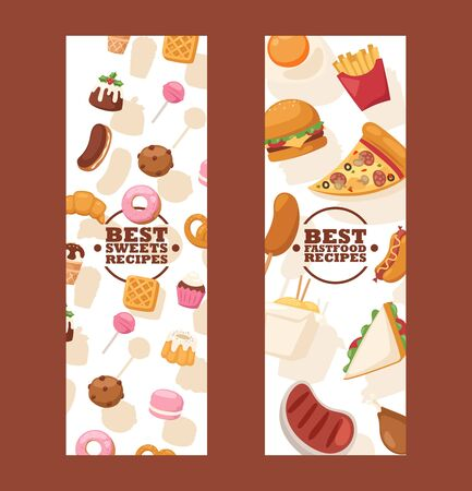 Junk food banners, vector illustration. Website advertisement for street cafe or food delivery page. Pizza, hamburger, french fries and other fast food icons. Sweets shop