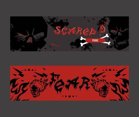 Underground rock club business website banner design, vector illustration. Stylized skull on grunge background, tattoo studio, escape room quest, metal rock music band