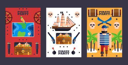 Invitation à une fête de style pirate, illustration vectorielle. Symboles de piratage, bannières plates simples. Ensemble d'annonce de fête de cartes colorées