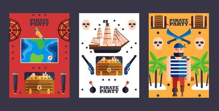 Pirate style party invitation, vector illustration. Symbols of piracy, simple flat banners. Set of colorful cards party announcement Ilustração