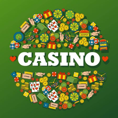 Casino gambling icons in round frame composition, vector illustration. Decorative cover for casino, gambling club, symbols of luck and fortune, entertainment and success