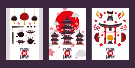 Japan tour banners, vector illustration. Symbols of Asian culture, popular tourist landmarks. Pagoda, torii gate, sushi, tea and other Japanese attractions Illustration