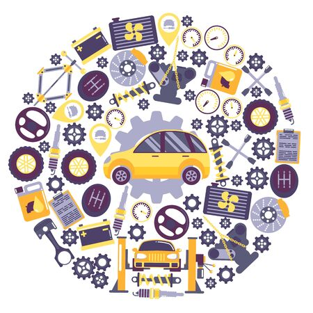 Car service icons in round frame composition, vector illustration. Vehicle maintenance center, auto repair service. Professional automobile accessories supply store