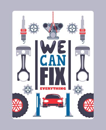 Car service advertising poster, vector illustration. Professional auto maintenance center, vehicle repair and diagnostics. Car equipment icons, tools, spare parts and instrument Stock Illustratie