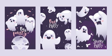 Halloween night party invitation ghosts, vector illustration set banners. Flying spirits with various emotions, funny cartoon characters. Screaming angry, smiling and happy ghosts on halloween party