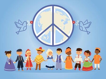 Peace united nations, vector illustration. People of different races, nationalities, countries and cultures holding hands. Peaceful characters in traditional costumes