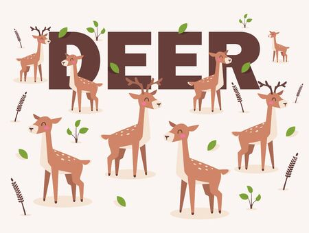 Deer isolated on white background, vector illustration in flat cartoon style. Cute spotted deer character. Pattern with young reindeer animals, happy and smiling