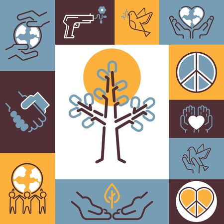 Peace symbols collage, vector illustration. Fine line icons of peaceful protest against war. Colorful stickers with emblems of peace, friendship, love and world protection Иллюстрация