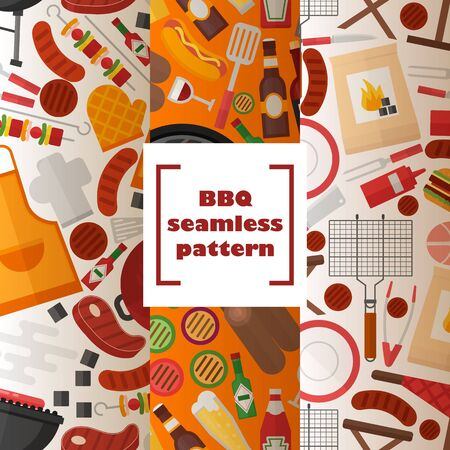 BBQ seamless pattern, vector illustration. Grilled food and accessories, flat style background. Barbecue party, outdoor cooking set, picnic utensils. Icons of apron, kebab skewer, barbeque meat, beer