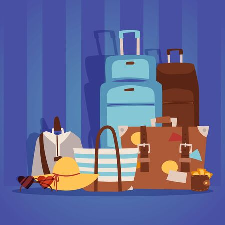 Travel bags packed for summer vacation on the seaside, vector illustration. Various baggage suitcases ready for departure. Women s leisure accessories. Travel background in cartoon style Ilustracja
