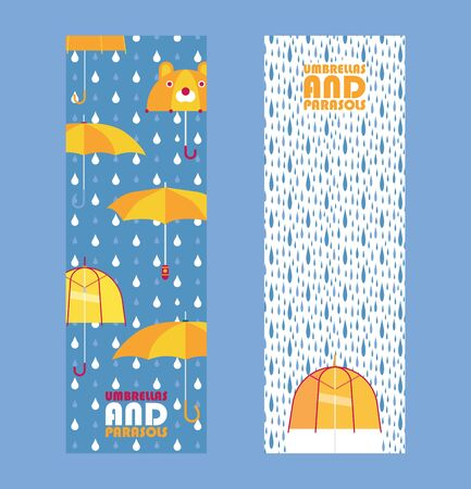 Umbrellas and parasols store banner, vector illustration. Fashion accessory for rainy weather, clothes and outdoor equipment shop advertisement 向量圖像