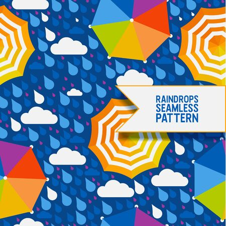 Raindrops and umbrella seamless pattern, vector illustration. Abstract background in flat style, rainy autumn weather. Colorful open umbrellas under the rain and clouds