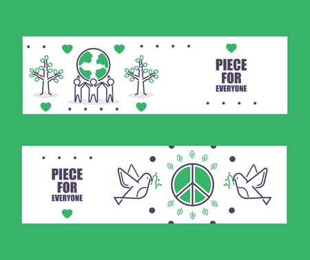 Peace banners, vector illustration. Informational brochure header, peace for everyone. Fine line icons of peaceful hippie ideology, civil position activists