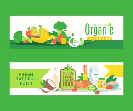 Organic healthy food from local farmers, fresh eco products, Vector illustration. Banners in flat style for organic grocery store or website with information about health and food Stock Illustratie