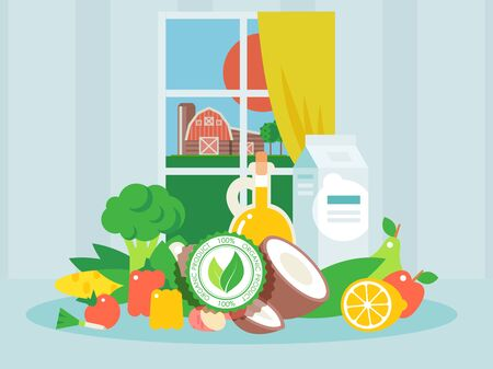 Organic products, fresh and clean food for healthy diet, vector illustration. Eco-friendly fruits and vegetables from a farm. Vegetarian lifestyle concept, natural green food