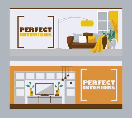 Innenarchitekturfahnen, Vektorillustration. Möbelhaus-Werbekopf im flachen Stil mit Platz für Text. Wohnzimmerinnenraum, modernes Wohnungsdesign