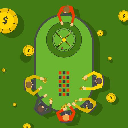 Gambling people at casino roulette table, vector illustration. Players in casino placing bets, view from above. Nightlife entertainment, gamblers in club