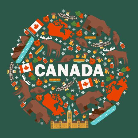 Canadian symbols and main landmarks, vector illustration. Flat style icons of Canada in round frame composition. Natural, architectural and cultural attractions of Canada Иллюстрация