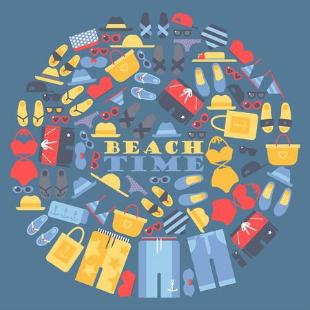Summer vacation on the beach, set of icons in round frame composition. Vector illustration with summer clothes and accessories, vacation items for beach time. Isolated elements in flat style.