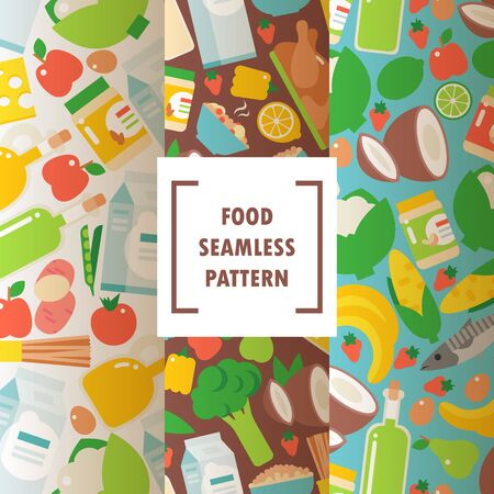 Healthy organic food seamless pattern, vector illustration. Flat style icons of natural food products and ingredients for healthy meal. Fruits, vegetables and other groceries
