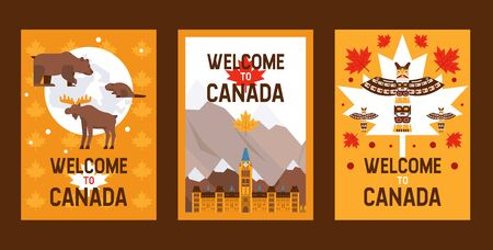 Canadian symbols and landmarks, vector illustration. Set of flat style banners for Canadian travel agency flyers. Natural, architectural and cultural attractions of Canada