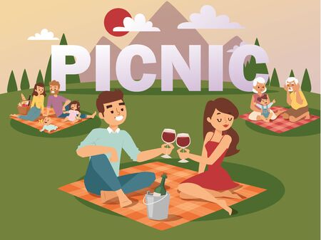 People on summer picnic vector illustration. Young family with children, romantic couple on date, grandparents playing with granddaughter. Happy time together