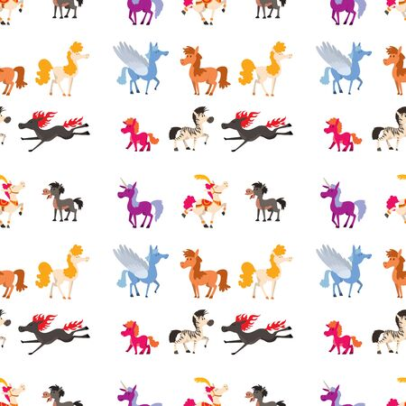 Horse pony stallion vector breeds color farm equestrian mammal domestic animal mane zoo character illustration seamless pattern background. Stock Vector - 132431916