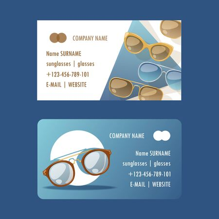 Sunglasses fashionable accessory set of business cards. Sun spectacles plastic frame modern eyeglasses vector illustration. Collection for store or shop. Glasses for tropical trip.
