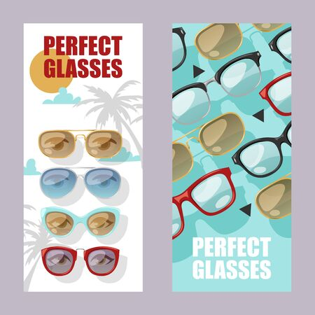 Sunglasses fashionable accessory set of banners. Sun spectacles plastic frame modern eyeglasses vector illustration. Collection for store or shop. Perfect glasses for tropical trip.