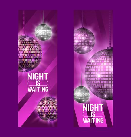 Night is waiting set of banners vector illustration. Life begins at night. Entertainment and event, disco show. Shining disco ball. Club party light element. Bright mirror ball for dancing.
