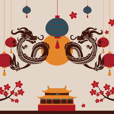 Chinese dragon art poster, vector illustration. Traditional oriental symbol. China culture festival invitation. Decorative cover for Asian art brochure