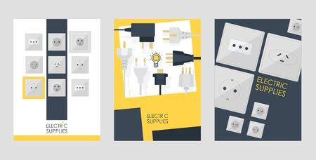 Electric supplies set of cards, posters vector illustration. Black and white plugs and electrical outlet. Icon of device for connecting electrical appliances, equipment. Plugs and socket.