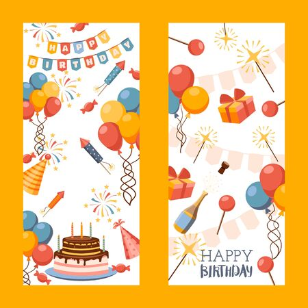 Happy birthday banner, vector illustration. Greeting card, gift tag, invitation to birthday party celebration. Website banner decorated with colorful balloons, firework rockets and birthday cake Illustration