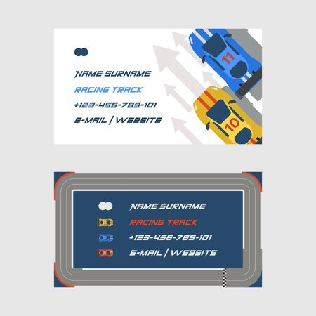 Racing track road, car sport track set of business cards vector illustration. Transportation roadway track design elements top view constructor for vehicle. Race competition facilities. 向量圖像