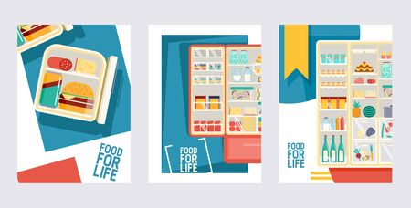 Refrigerator full of products set of cards, posters vector illustration. Open cooler with fruits and vegetables, different sauces and drinks. Meat and fish on shelves of fridge. Food for life.