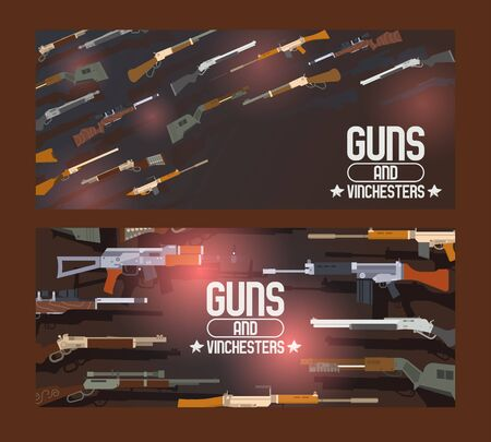 Guns and winchesters set of banners vector illustration. Automatic weapons, machine, pistolsrifle. Military combat firearms. Collection of hotgun and handgun. Vintage objects for shooting.