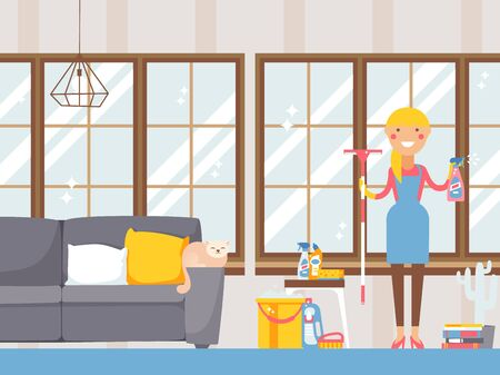 Housewife cleaning apartment, vector illustration. Smiling woman in apron with mop in sparkling clean living room with large windows. Cleanup tools and washing detergents
