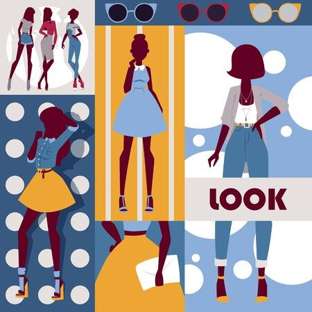 Fashion collage, vector illustration. Set of colorful stickers with beautiful models wearing stylish clothes. Wall decoration poster in modern style for fashion shop, new collection booklet cover  イラスト・ベクター素材