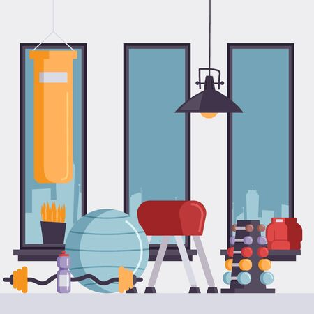 Gym equipment vector illustration. Empty sport studio with punching bag, gymnastics ball and set of dumbbells. Fitness center in big city for active and healthy lifestyle