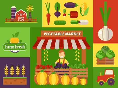Vegetable market of local farm products, vector illustration. Colorful collage of stickers in flat design, harvest festival icons. Support eco farmers, buy only naturally grown healthy vegetables Иллюстрация